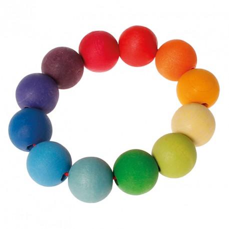 Sonajero anillo de bolas de colores del arco iris