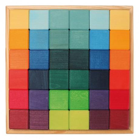 Set de construcción 36 piezas de madera colores arco iris