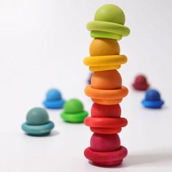 12 Bolas de madera macizas de colores arco iris en bolsa de algodón