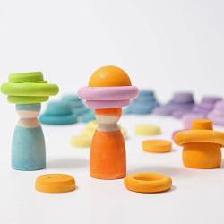12 Bolas de madera macizas de colores pastel en bolsa de algodón