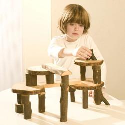 Eco Blocks 22 bloques de madera natural con corteza en bolsa de algodón