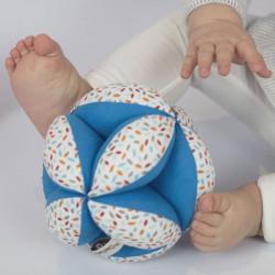 Pelota Montessori Gotas multicolor azul -  pelota de tela
