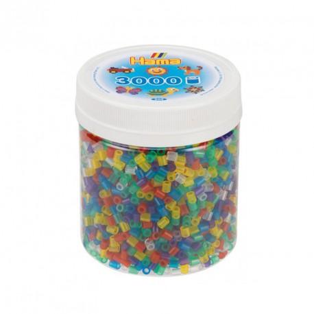 3000 perlas Hama midi 6 colores transparentes en bote