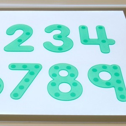 Números verdes flexibles Silishapes con puntos del 0 a 9