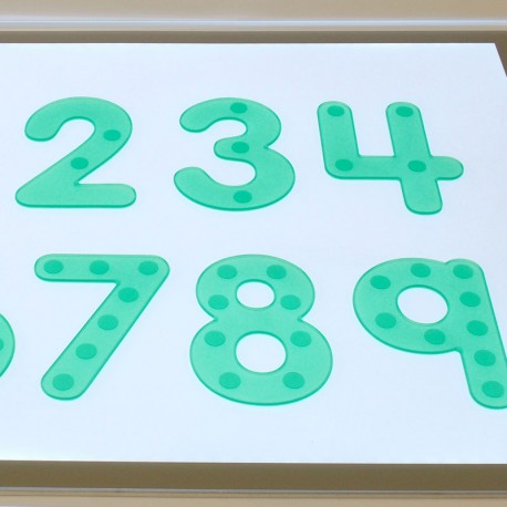 Números verdes flexibles con puntos - Silishapes del 0 a 9