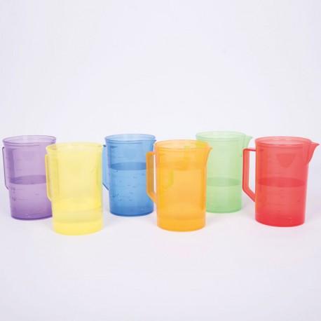 Set de 6 Jarras graduadas transparentes colores del arco iris
