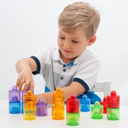 Set de 18 botes transparentes colores del arco iris