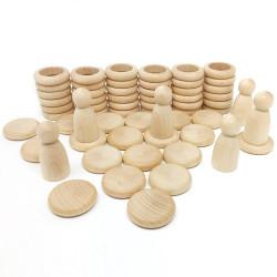Nins, Anillas y Monedas - juego de madera de color natural
