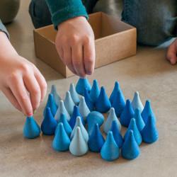 36 piezas en forma de agua de madera para mandalas - azul