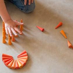 36 piezas en forma de cono de madera para mandalas - naranja