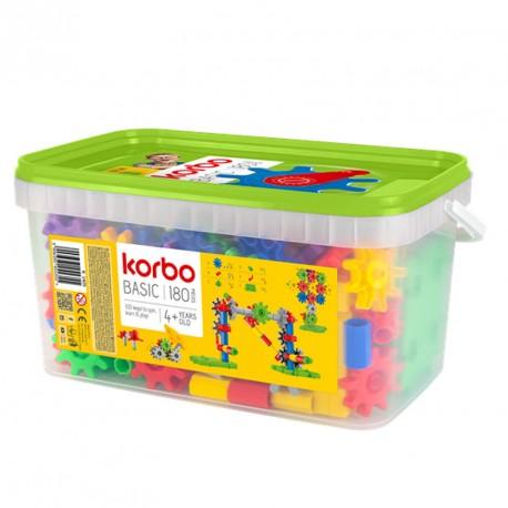Korbo 180 - juguete de construcción con engranajes, caja escolar