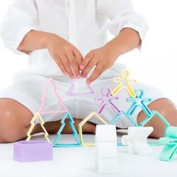 dëna 6 Kids + 6 Houses Pastel - muñecos y casas de silicona