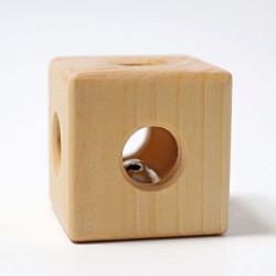 Sonajero Cubo de madera natural con cascabel