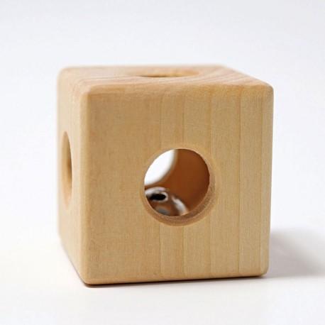 Sonall Cub de fusta natural amb cascavell