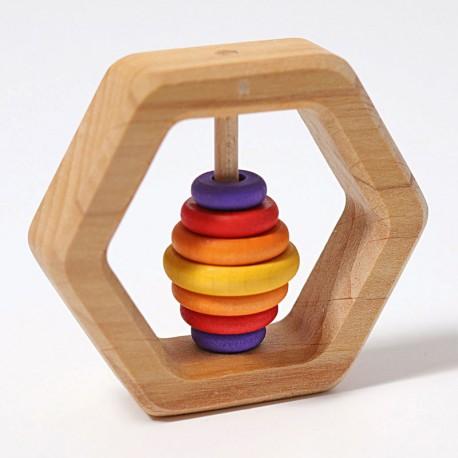 Sonajero hexagonal con aros de madera