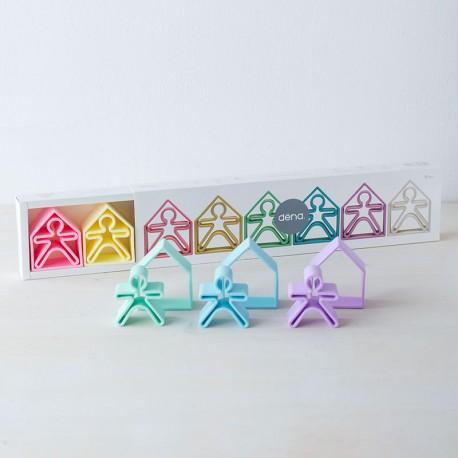 dëna 6 Kids + 6 Houses Pastel - ninots i cases de silicona