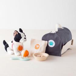 Cuidado de mascotas - set con instrumentos de madera