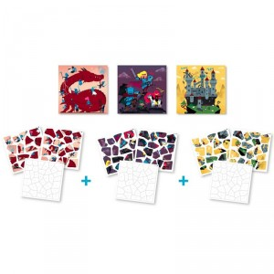 Mis puzzles de pegatinas - Caballeros y Dragones 35 pzas
