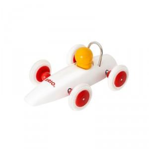 Coche clásico de carreras de madera - Blanco