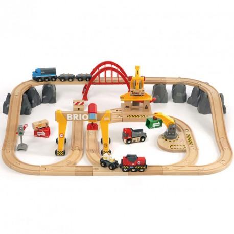 Set de Càrrega Ferroviària Deluxe per a circuit de trens de fusta - 54 peces