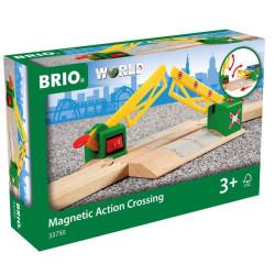Paso a nivel magnético para circuito de tren de madera