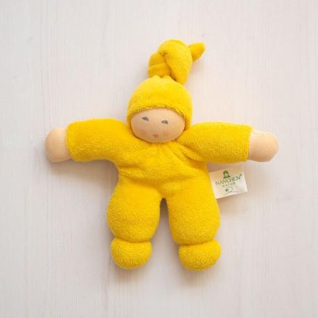 Muñeco Pimpel de algodón orgánico amarillo