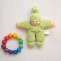 Muñeco Pimpel de algodón orgánico verde