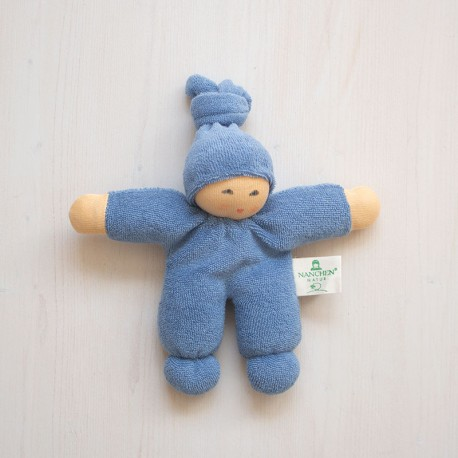 Muñeco Pimpel de algodón orgánico azul