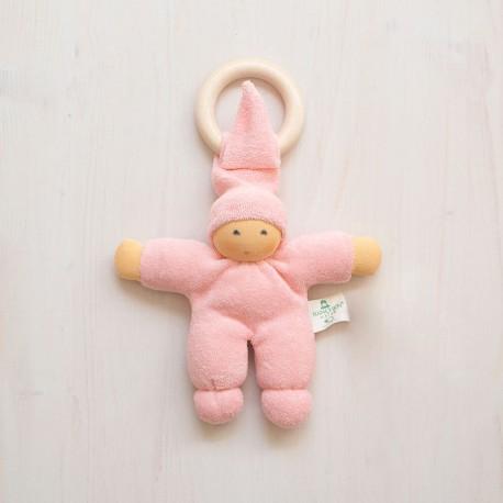Muñeco Pimpel Ring de algodón orgánico rosa