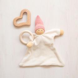Doudou de algodón orgánico rosa con mordedor de madera