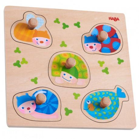 Puzzle de madera para encajar - Animales de colores