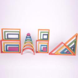 Set arquitectónico Arco Iris - 28 piezas de madera