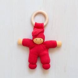 Muñeco Pimpel Ring de algodón orgánico rojo