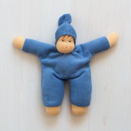 Muñeco Schmuse de algodón orgánico azul