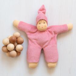 Muñeco Schmuse de algodón orgánico rosa