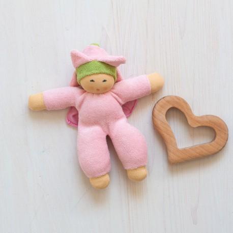 Muñeco Blumenfee de algodón orgánico rosa y verde