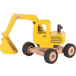 Excavadora amarilla de madera