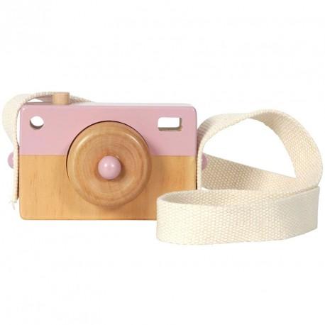 Cámara de Fotos de madera - rosa pastel