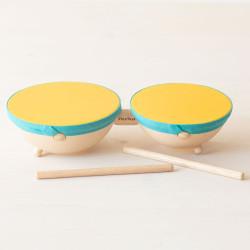 Tambor doble Plantoys - instrumento musical de madera