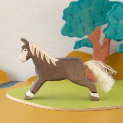 Caballo corriendo marrón oscuro - animal de madera