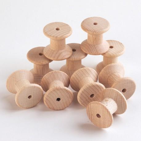 10 Carretes de madera color natural