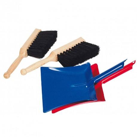 Recogedor de metal con cepillo de cerdas naturales - Azul