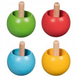 Mini peonza de madera - varios colores