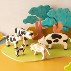 Vaca blanca y negra - Animal de granja de madera