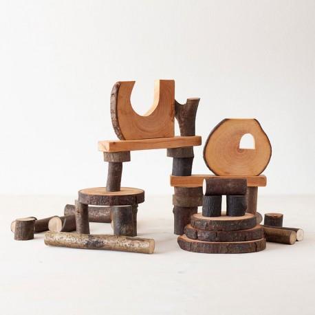 Eco Blocks 36 piezas de madera natural