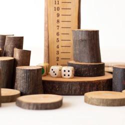 Eco Blocks Kit Matemático - bloques de madera natural con corteza en bolsa de algodón