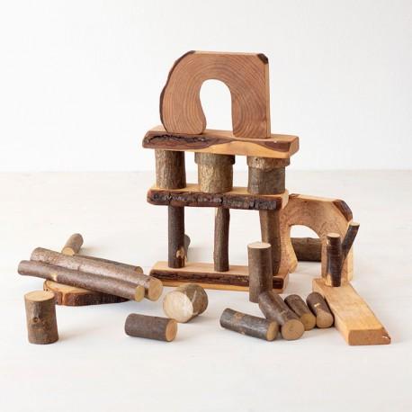 Eco Blocks 36 bloques de madera natural con corteza