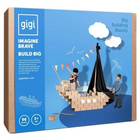 GIGI BLOKS grandes - sistema creativo de 96 bloques de construcción de cartón