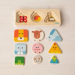 Puzzle encajable de madera Anima Basic - 3 niveles