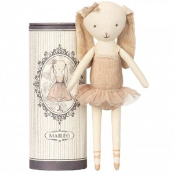 Conejita Bunny Mini Ballerina con tutú en tubo de cartón- muñeca de tela